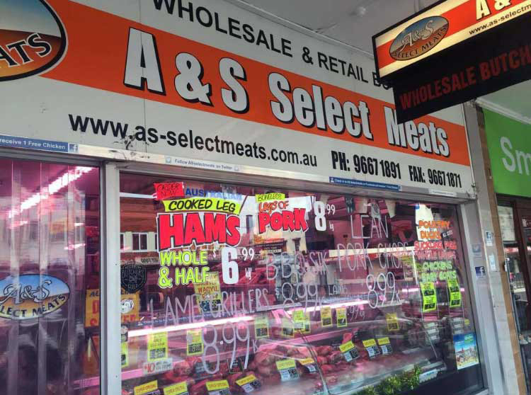 Front window A & S Meats